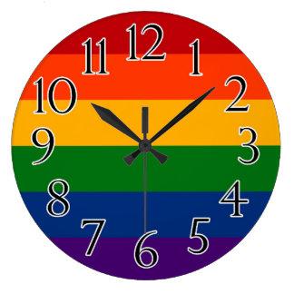 Solid Rainbow Pride Flag Large Clock