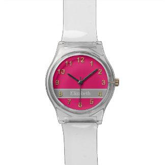 Solid Raspberry, Dark Gray Ribbon Name Monogram Watch
