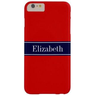 Solid Red, Navy Blue Ribbon Name Monogram Barely There iPhone 6 Plus Case