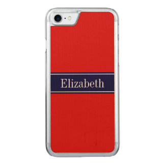 Solid Red, Navy Blue Ribbon Name Monogram Carved iPhone 8/7 Case