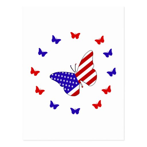 Solid Red, White & Blue Butterfly Post Cards