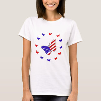 Solid Red, White & Blue Butterfly T-Shirt