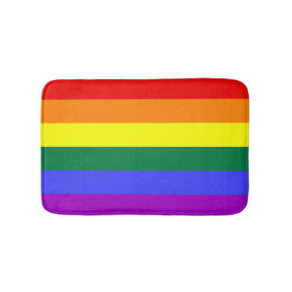 Solid Stripe Rainbow Bath Mat Bath Mats