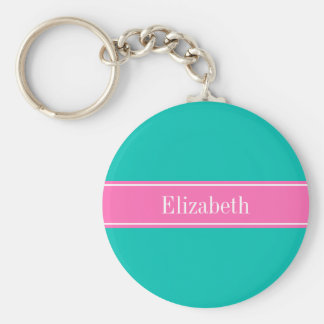Solid Teal, Hot Pink #2 Ribbon Name Monogram Key Ring