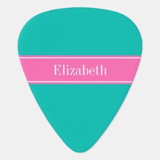 Solid Teal, Hot Pink #2 Ribbon Name Monogram Plectrum