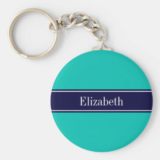 Solid Teal, Navy Blue Ribbon Name Monogram Key Ring
