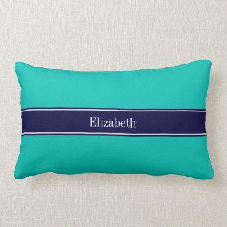 Solid Teal, Navy Blue Ribbon Name Monogram Lumbar Pillow
