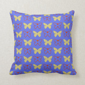 Solid Yellow And Red Outline Butterflies Cushion
