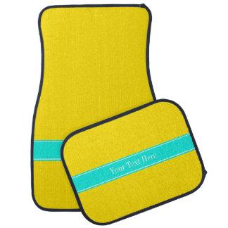 Solid Yellow, Bright Aqua Ribbon Name Monogram Car Mat