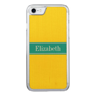 Solid Yellow, Dark Teal Ribbon Name Monogram Carved iPhone 8/7 Case