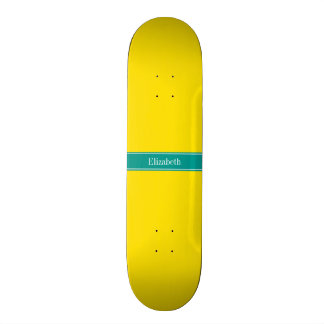 Solid Yellow, Dark Teal Ribbon Name Monogram Skate Board Decks