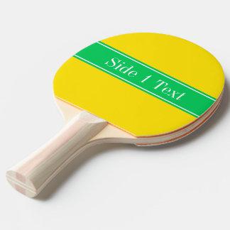 Solid Yellow, Emerald Green Ribbon Name Monogram Ping Pong Paddle