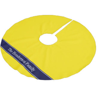 Solid Yellow, Navy Blue Ribbon Name Monogram Brushed Polyester Tree Skirt