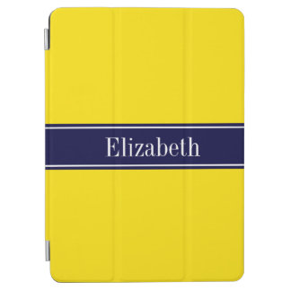 Solid Yellow, Navy Blue Ribbon Name Monogram iPad Air Cover