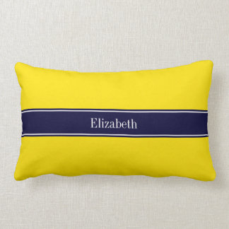 Solid Yellow, Navy Blue Ribbon Name Monogram Lumbar Pillow