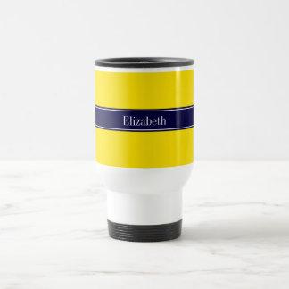 Solid Yellow, Navy Blue Ribbon Name Monogram Travel Mug