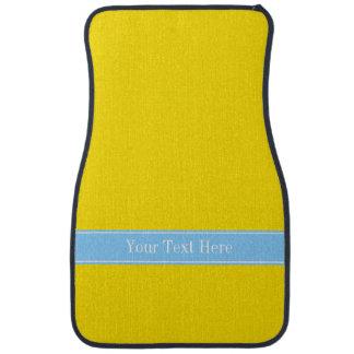 Solid Yellow, Sky Blue Ribbon Name Monogram Car Mat