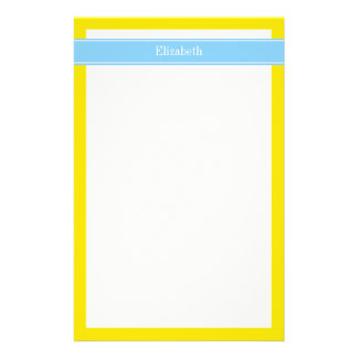 Solid Yellow, Sky Blue Ribbon Name Monogram Custom Stationery