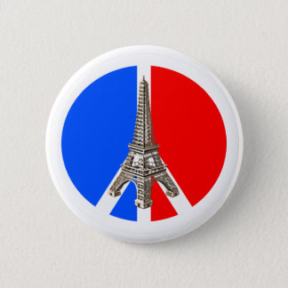 Solidarité Peace Eiffel Tower 6 Cm Round Badge