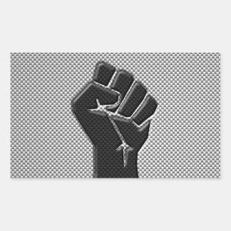 Solidarity Fist in Carbon Fiber Style Rectangular Sticker