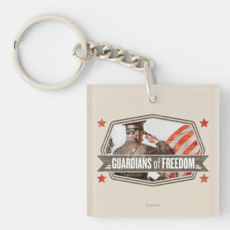 Solider-Guardian of Freedom Double-Sided Square Acrylic Key Ring