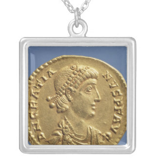 Solidus  of Gratian  draped Silver Plated Necklace