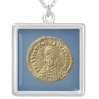 Solidus  of Romulus Augustulus Silver Plated Necklace