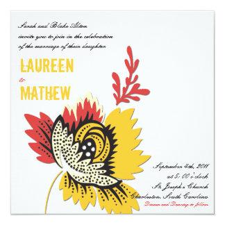 """Solitaire - Wedding invites 5.25"""" Square Invitation Card"""