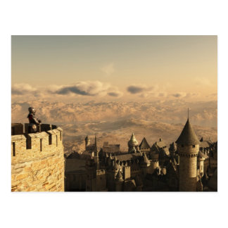 Solitary Knight Guarding the Battlements Postcard