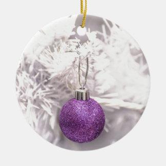 Solitary Purple Christmas Ball Christmas Ornament
