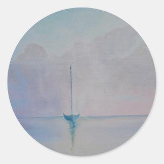 Solitary Sailboat Round Sticker