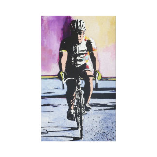 Solo Cyclist Stretched Canvas Prints