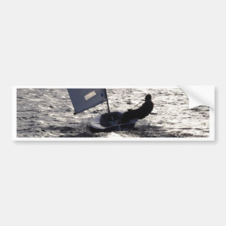 Solo Dinghy Sailing Into The Sun Bumper Sticker