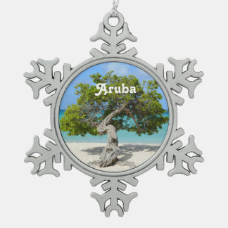 Solo Divi Divi Tree in Aruba Snowflake Pewter Christmas Ornament