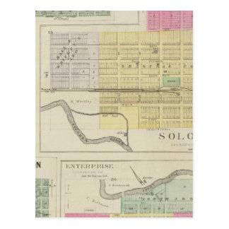 Solomon, Enterprise, Dillon, Detroit, Kansas Postcard