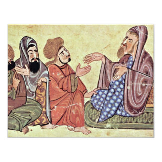 Solon And Students By Meister Des Al-Mubashshir-Ma 11 Cm X 14 Cm Invitation Card