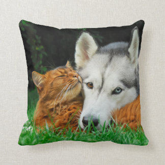 Somali cat and Siberian Husky cute friends huddle Throw Pillow