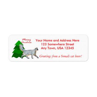 Somali Cat Christmas Label Return Address Label