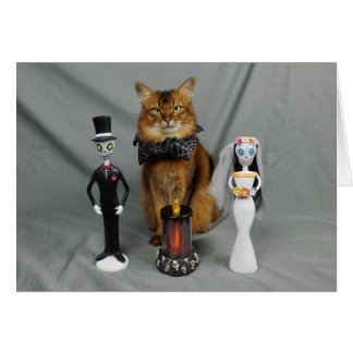 Somali Cat Day of the Dead Halloween Wedding Card