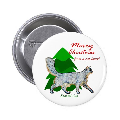 Somali Cat Lover Christmas Button