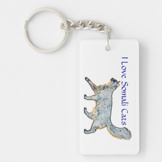 Somali Cats Hide n' Seek Double-Sided Rectangular Acrylic Key Ring