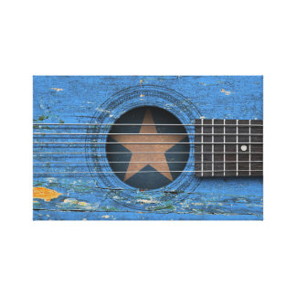 Somali Flag on Old Acoustic Guitar Stretched Canvas Prints