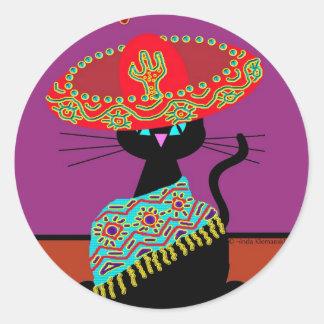 Sombrero Cat Aunt Round Sticker