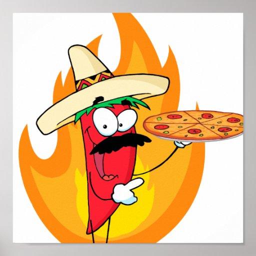 Sombrero Chile Chili Pepper Holds Up Pizza Print