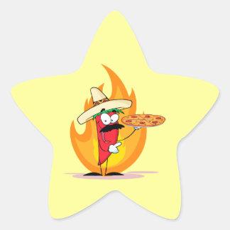 Sombrero Chile Chili Pepper Holds Up Pizza Star Sticker