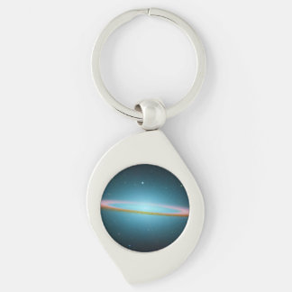 Sombrero Galaxy in Infrared Silver-Colored Swirl Key Ring