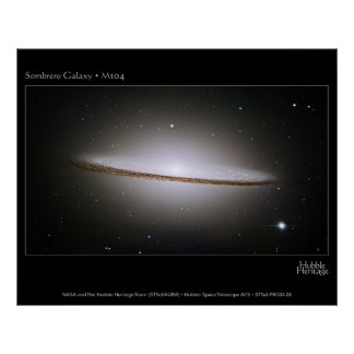 Sombrero Galaxy, largest Hubble mosaics ever assem Poster