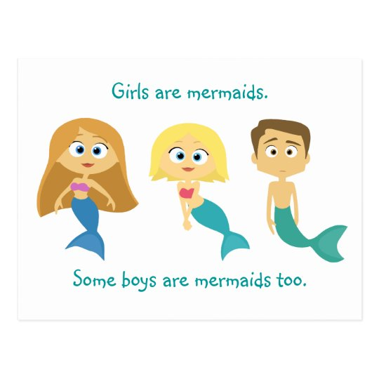 """Some Boys are Mermaids Too"" Postcard"