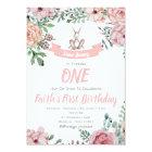 Some Bunny Floral Birthday Invitation