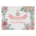 Some Bunny Floral Birthday Poster